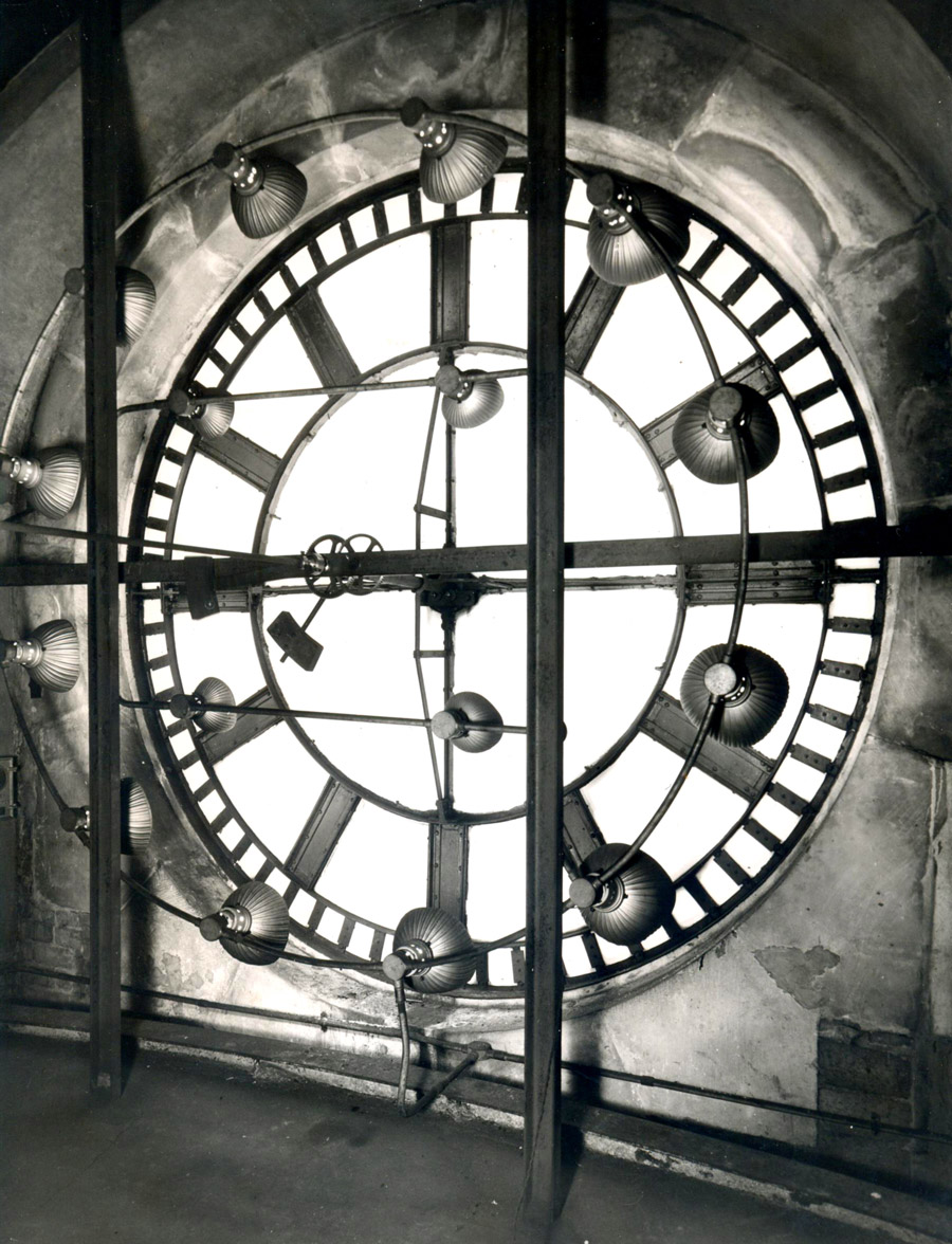Rear view of the Council House clock dial, Nottingham.