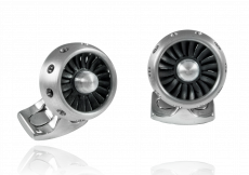 Jet Turbine Engine Cufflinks Brushed Aluminium