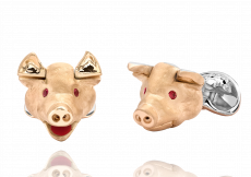 Sterling Silver Pig Head Cufflinks