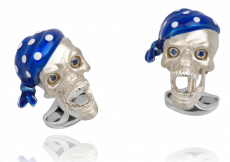 Sterling Silver Pirate Skull Cufflinks with Sapphire Eyes