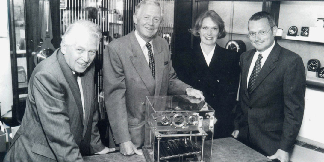 David Cope, Richard Cope, Susan Cope and Andrew Cope (l to r) with Congreave Clock.